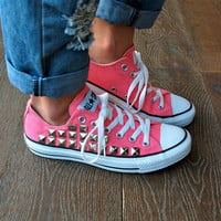 Studded Converse Sneakers - Coral/Pink Converse Low Top Converse All Star Chucks Sneakers