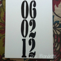 Dates. Anniversary. Wedding. First Kiss. Special Occasions. Births. 9 x 12 canvas.