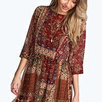 Jeni Woven Printed 3/4 Sleeve Skater Dress