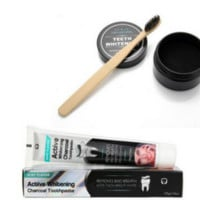 Glean and Glow Active Bamboo Charcoal Teeth Whitening Cleaning Set Plus Toothbrush and Paste