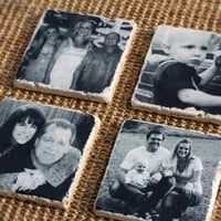 Christmas Gift - Photo Coasters Custom and Personalized, Housewarming Gift  -  Use Your Own Photos - Set of 4