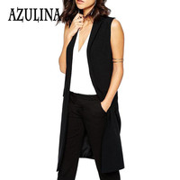 AZULINA Sleeveless Blazer Vest 2017 Spring Autumn Long Vest Waistcoat Female Women Outwear Longline Jacket Pocket Coat Black