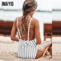 Imayio women swimsuit  striped One Piece swimwear vintage striped Retro bathing suits sexy bandage beachwear bikinis plus size