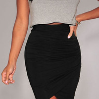 Black Ruched Tulip Skirt