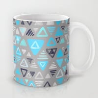 Summer Turquoise Triangles on Grey Mug by Micklyn