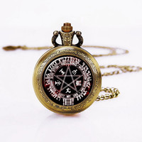 Hellsing pentacle Pocketwatch,Alucard ,  Round Glass Watch Pendant,Gamers Necklace,Gifts for Mom
