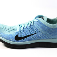 Nike Women's Free 4.0 Flyknit Glacier Ice Blue/Black Running Shoes 631050 402