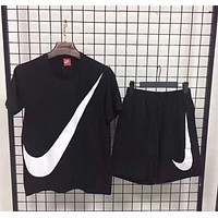Nike Fashion Men Casual Big Logo Print Short Sleeve Top Shorts Pants Sweatpants Set Two-Piece Sportswear Black I12953-1