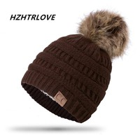 High Quality Letter CC Beanies Cotton Add Wool Fur Ball Cap Pom Poms Winter Hat For Women Girl 's Hat Knitted Warm Beanies Cap