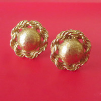 Vintage Monet Button Earrings, Brushed Gold Tone, Entwined Wreath or Rope Border, Signed Clips