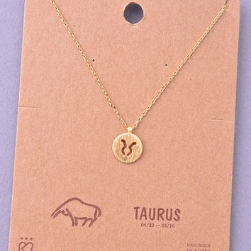Dainty Circle Coin Taurus Zodiac Symbol Necklace - Gold, Silver or Rose Gold
