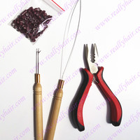 Free shipping 100pcs silicone link rings+1pcs three hole plier+1 pcs hook & 1 pcs wire hook for feather hair extension tool kits