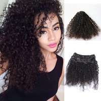 African American Clip In Human Hair Extensions Brazilian 3B 3C Kinky Curly