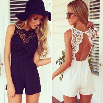 Womens Ladies V Neck Sleeveless Lace Bodycon Jumpsuit Romper Trousers Clubwear