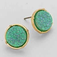 Crystal Shine White Stud Druze Stud Earrings Turquoise