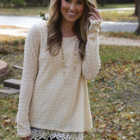 Cream Blouse with Lace & Polka Dot Detail