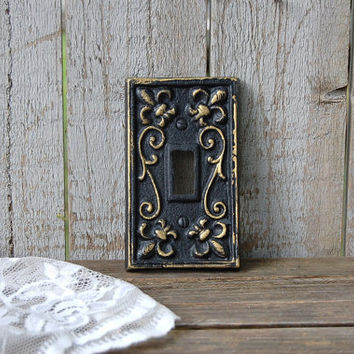 Shabby Chic Switch Cover, Black, Gold, Single, Wall Plate, Ornate, Fleur de Lis, Cast Iron