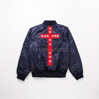 Mens XQUARE 23 Yeezus Embroidered Cross Bomber Jacket at Fabrixquare
