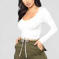 Sierra Ruched Cropped Top - Off White