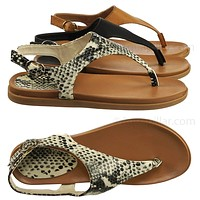Mission67 Vintage Rubber Thong Sandal - Womens Triangle T-Strap Ankle Buckle