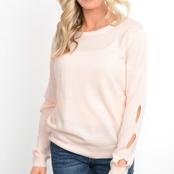 Peach Open Back Spring Sweater