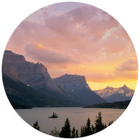 Paul Moore's St. Mary's Lake, Glacier National Park Circle wall decal