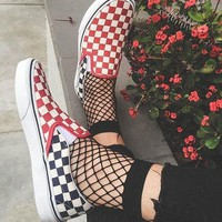 VANS Blue red checkerboard Pedaling the low board shoes