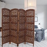"""80"""" 4-Panel Hand Carved Wood Room Divider Screen, Brown By The Urban Port"""