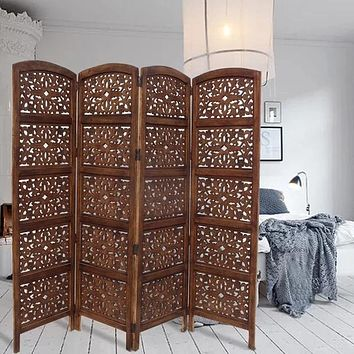 "80"" 4-Panel Hand Carved Wood Room Divider Screen, Brown By The Urban Port"