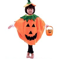 Halloween Pumpkin Costume Suit Party Clothing Clothes for Children Kids Adults
