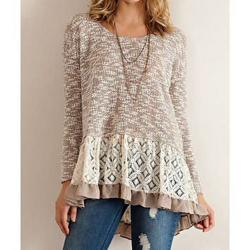 Final Sale - Cut and Sew Lightweight Sweater Tunic with Ruffle Hem in Mocha