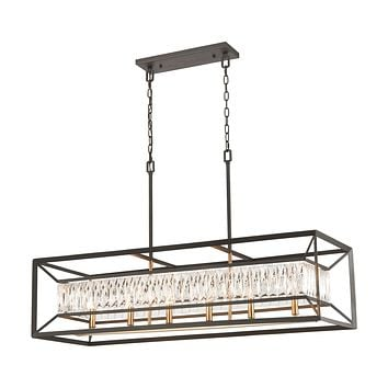 Starlight 6-Light Linear Chandelier in Charcoal with Clear Crystal