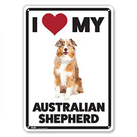 """PetKa Signs and Graphics PKDO-0042-NA_10x14 """"I Love My Australian Shepherd"""" Aluminum Sign, 10"""" x 14"""", Red/Black/White with Dog Photo"""