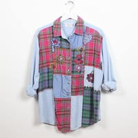 Vintage 90s Flannel Shirt Red Plaid Soft Grunge Chambray Blue Button Up 1990s Shirt Floral Heart Teddy Bear Embroidered Top L Extra Large XL