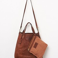 Free People Womens Everyday Leather Tote - Tan One