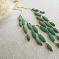 Turquoise Necklace - Statement Necklace - Turquoise Statement Necklace - Blue Necklace - Green Bib Necklace - Oval Turquoise Necklace