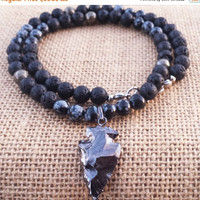 HOLIDAY SALE Arrowhead Necklace Beaded Necklace Black Lava Obsidian Pyrite Men's Beaded Necklace Jasper Arrow Necklace Gifts For Him Christm