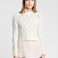 Banana Republic Womens Cable Knit Cropped Pullover