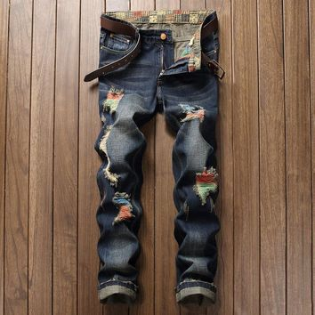 Strong Character Ripped Holes Denim Jeans [1922679406685]