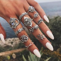 Tocona 11pcs/Set Vintage Antique Silver Rose Flower Elephant Opal Stone Finger Midi Rings Set for Women Bohemian Jewelry 6343