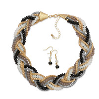 Two Tone Braided Bead Fashion Necklace and Earring Set