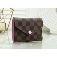 LV Louis Vuitton Fashion Women Leather Multicolor Buckle Wallet Purse 8#