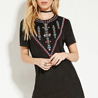 Embroidered Faux Suede Dress | Forever 21 - 2000145544