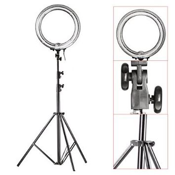 """Neewer® Camera Photo/Video Ring Flash Light Kit, includes (1)18""""/ 48 cm Outer 14""""/35 cm Inner 600W 5500K Ring Fluorescent Flash Light +(1)PRO 9 Feet / 260cm Heavy Duty Aluminum Alloy Photography Photo Studio Light Stands"""