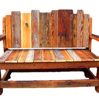 Rustic Furniture Bench, Reclaimed Wood Chair, Rustic Natural furniture, Salvaged lumber settee, Bench, Seating, Outdoor furniture, Western.