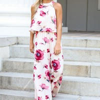 Serendipity Light Pink Floral Print Jumpsuit