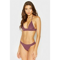 Winnie Ribbed Triangle Bikini Top - Boysenberry Purple