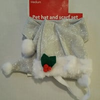 Christmas Dog Pet Outfit Silver Hat 7in Scarf 20in for Medium size Dogs New
