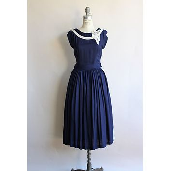 1950s Navy Blue Dress with White Appliques and Stripes