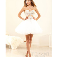 Terani 2014 Prom Dresses - Ivory Flared Mesh & Lace Applique Mini Prom Dress